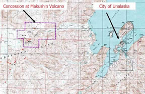 Map of Potential Mt. Makushin Geothermal Site